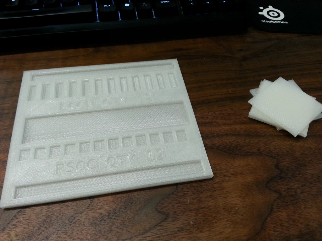 3D printed part tray with test squares