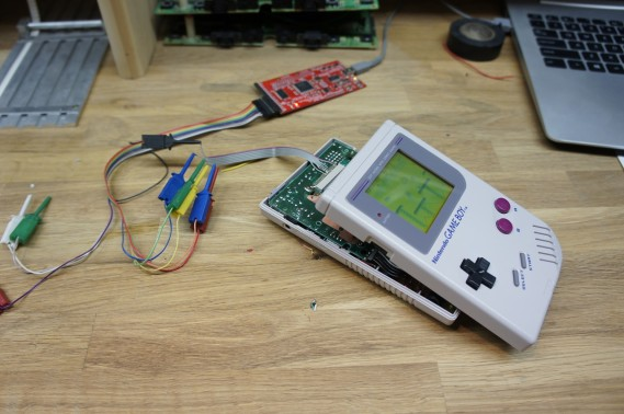 Open Bench Logic Sniffer connected to Gameboy DMG-01.