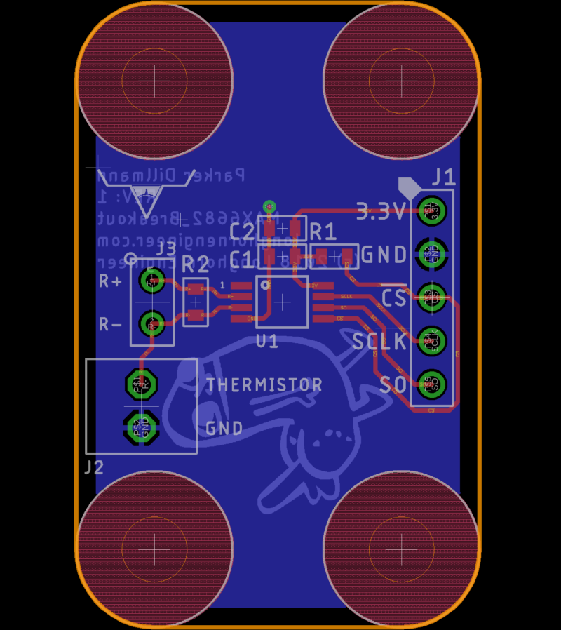 Layout for the MAX6682 Breakout Board.