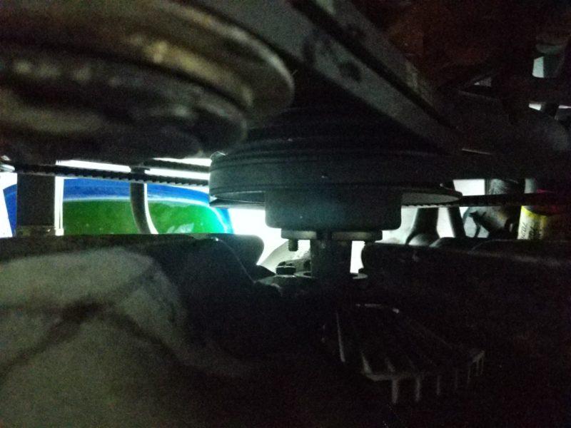 Removing the fan and fan clutch.