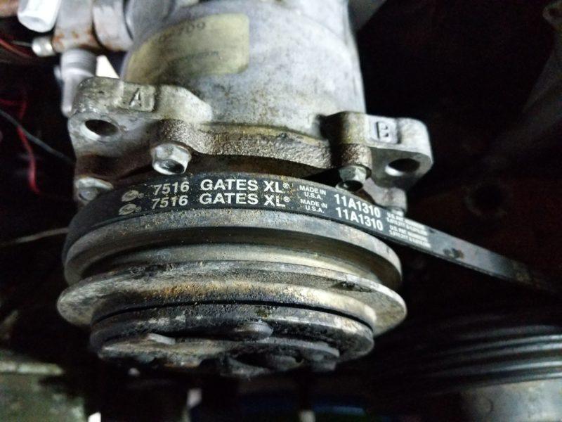 Alternator and A/C compressor belt part number.