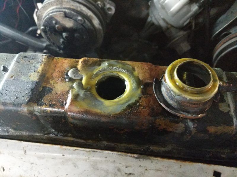 Removed filler neck for cleaning and rebrazing.