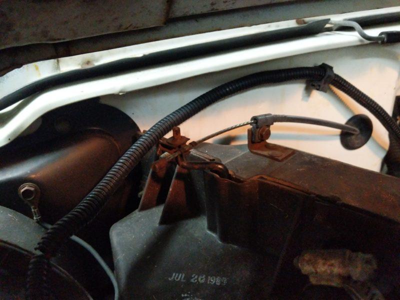 Reinstalled heater box blend door cable.