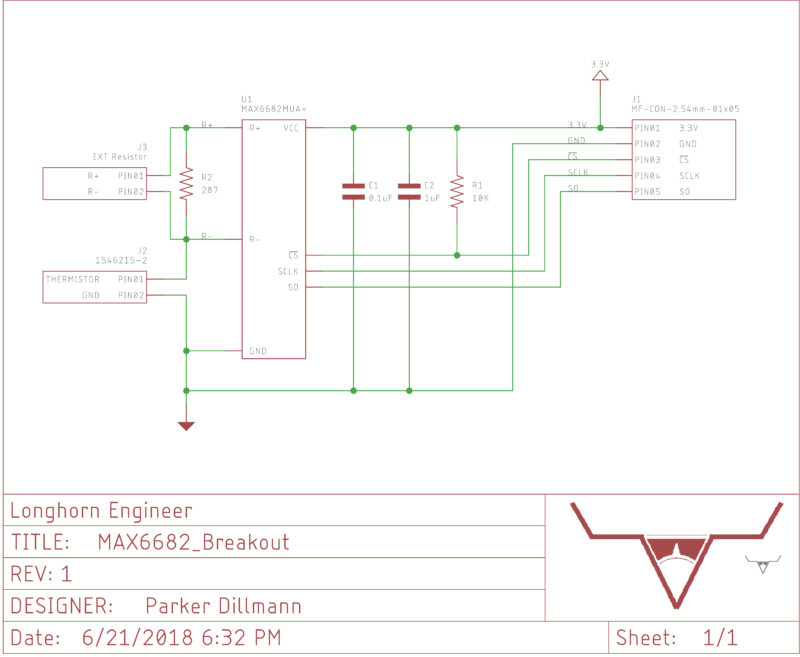 Schematic for the MAX6682 Breakout Board.